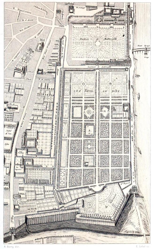 jardins, Tuileries, Plan, Paris, baroque, Gomboust