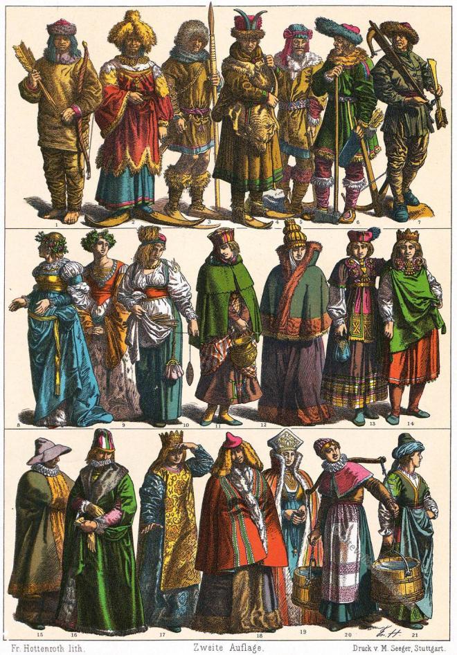 Gewandung, Nordländer, Skandinavier, Baltikum, Norwegen, Schweden, Litauen, Finland , Friedrich Hottenroth