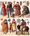 Schottische Nationaltrachten. Bergbewohner. Die Kleidung der Frau.
