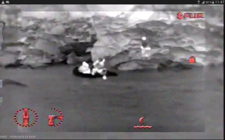 SAR search and rescue thermal drone image - Drones to support sea rescue operations
