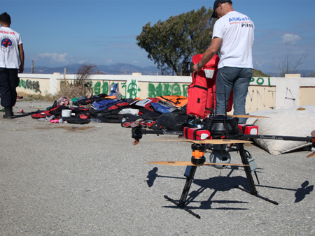 in support to the rescue teams on the field with the SAR drone - A drone to rescue immigrants