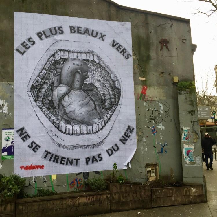Collage réalisé par la Street Artiste Madame à Paris dans le 18ème arrondissement