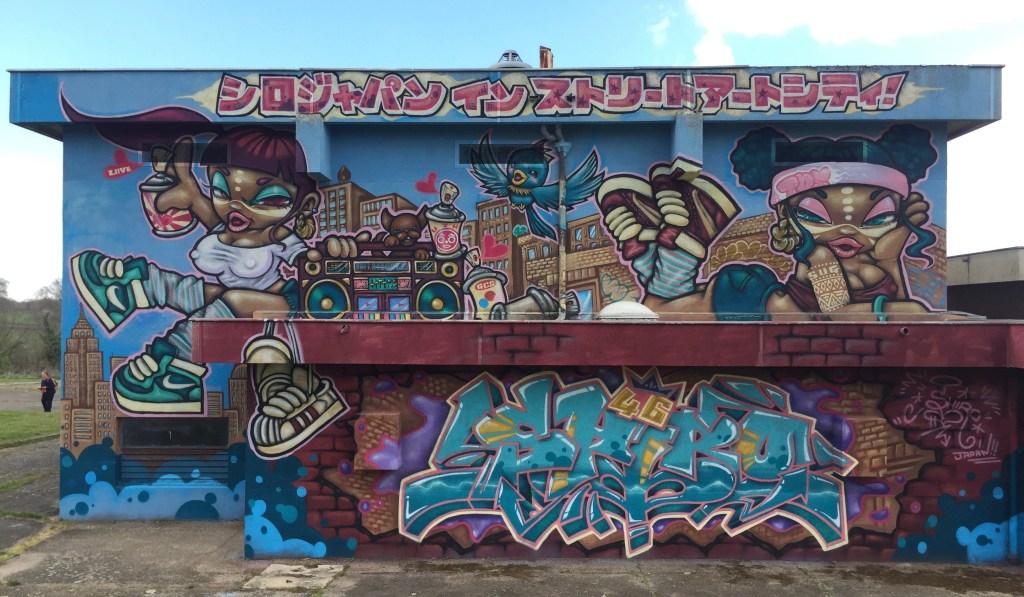 Fresque murale Street Art bling bling hip-hop par Shiro artiste Japonaise