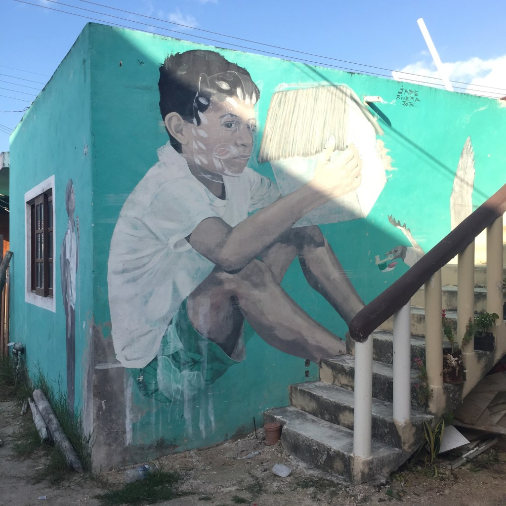 mur peint de Jade Rivera, street art sur l'ile Holbox