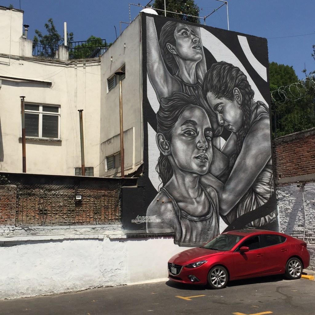 Fresque murale réalisée par Paola Delfin - concours Nike Women - Juntas emparables - Street art Mexico
