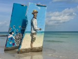 Œuvres Street Art ile d'Holbox au Mexique : Le pêcheur