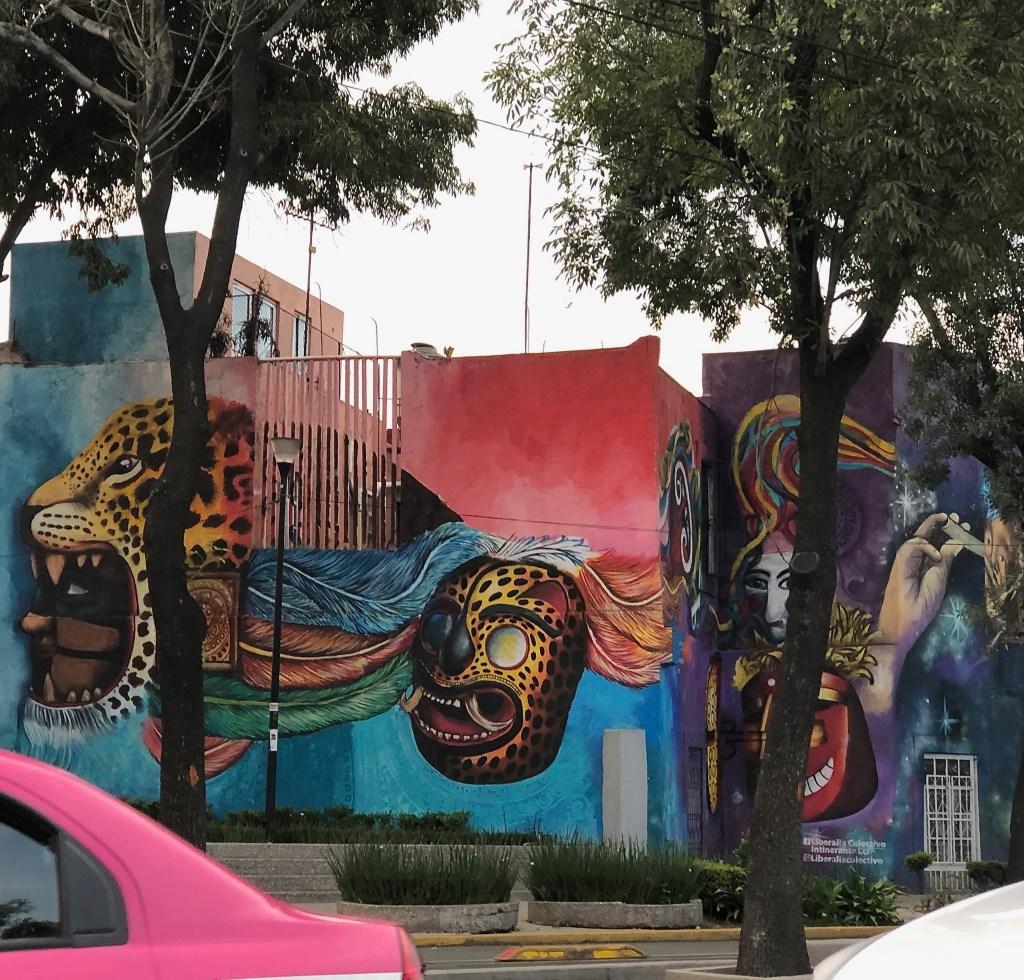 Fresque murale réalisée par Liberalia Colectivo Itinerante à Mexico City