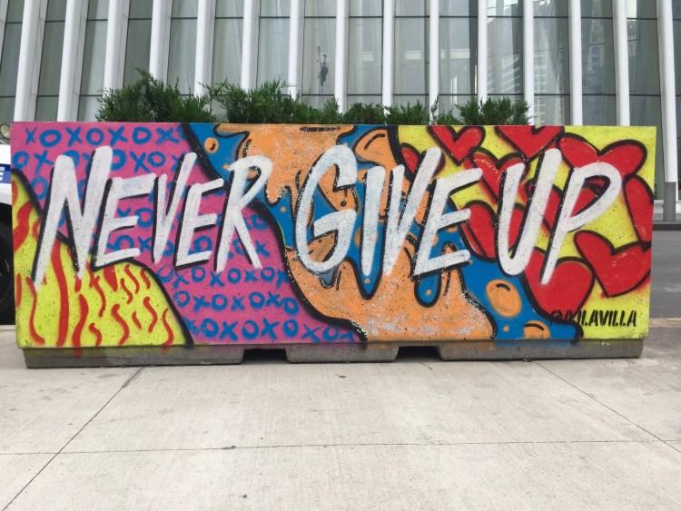 "Street Art au World Trade Center ""Never Give Up"" par Aljavilla - photo Altinnov Street Art Blog"