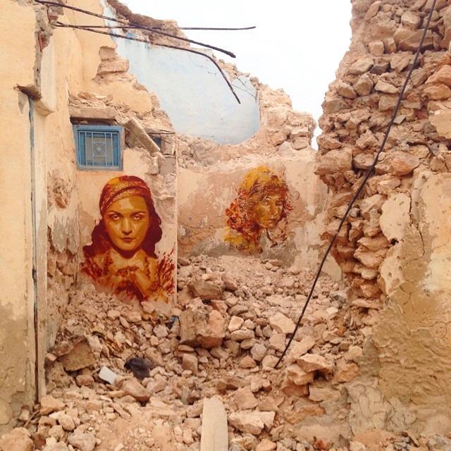 Portraits des actrices Pola Negri et Lilian Gish réalisés par la Street Artiste Catalane Btoy à Djerba