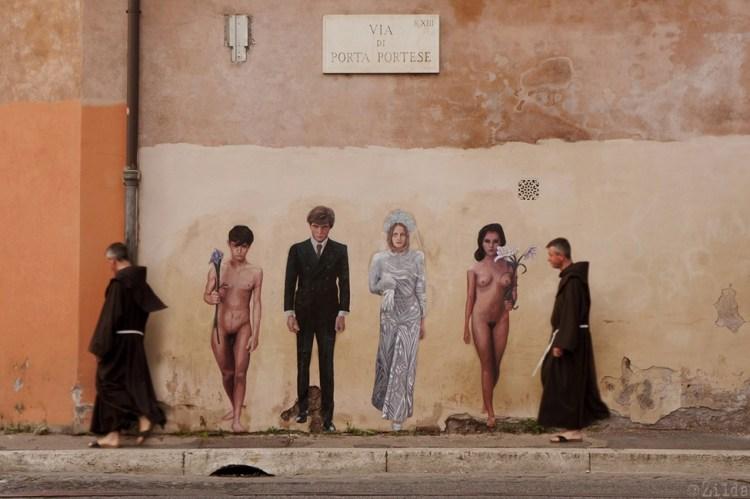 Hommage au film Salo ou les 120 jours de Sodome de Pier Paolo Pasolini (1975) réalisé par l'artiste français Žilda à Rome
