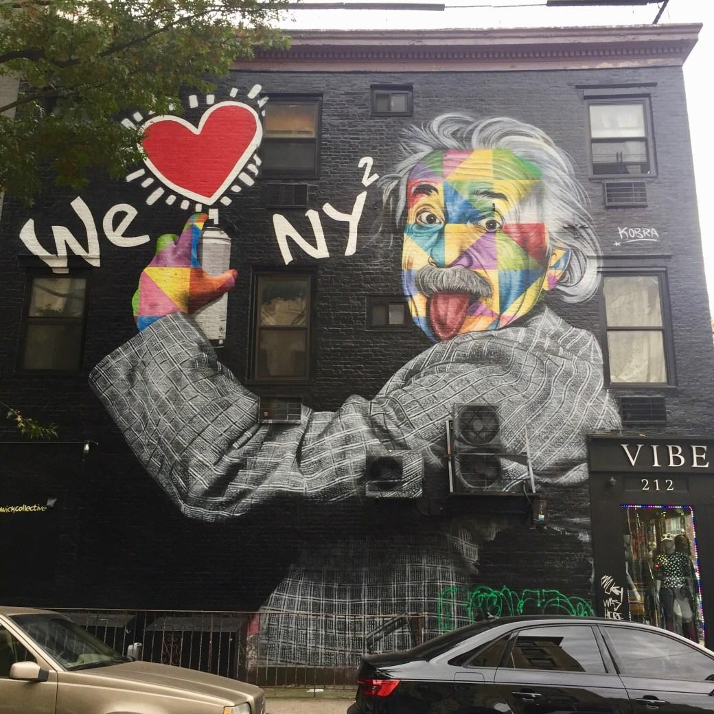 Fresque murale Street Art Albert Einstein - We Love New York - Eduardo Kobra - Street Art Blog - Altinnov
