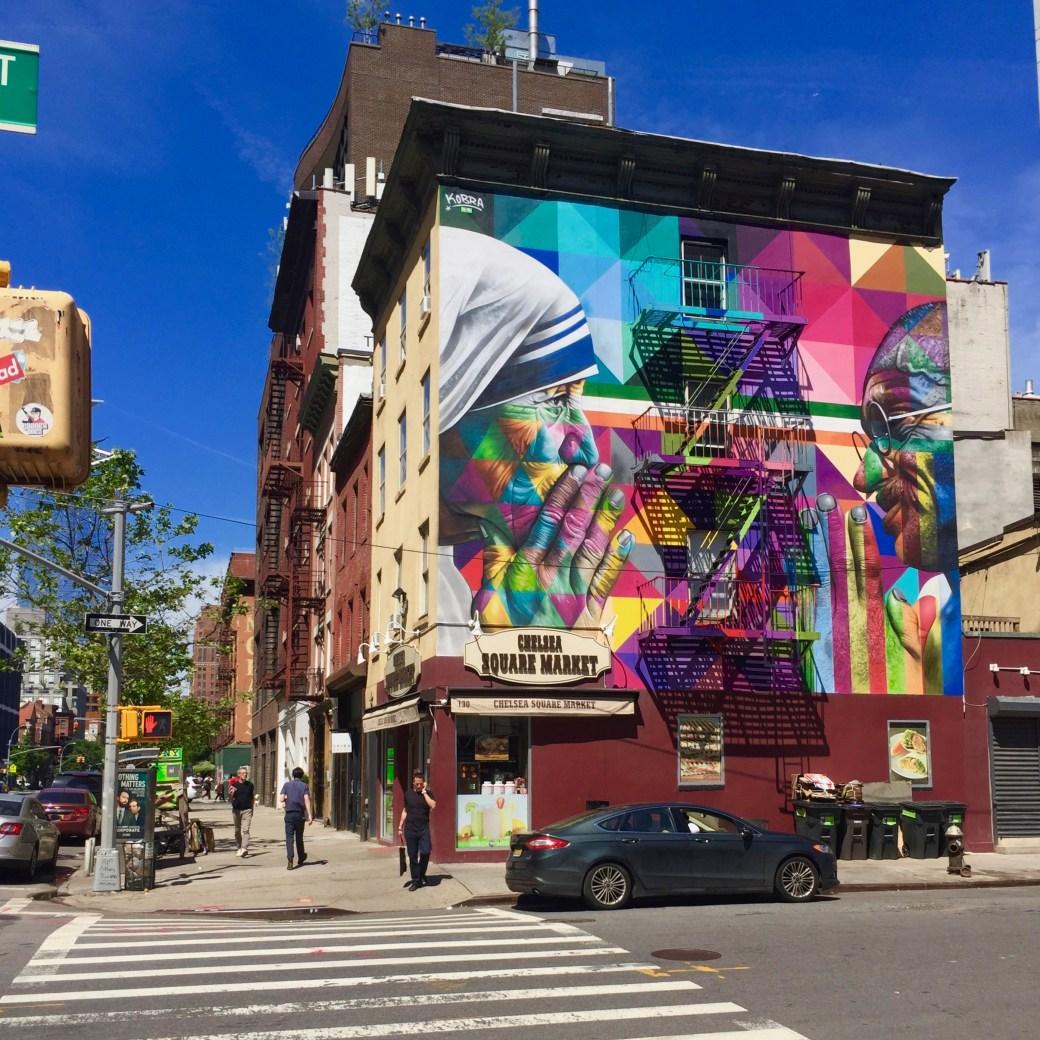 Fresque murale représentant Mere Teresa & Gandhi - Eduardo Kobra - Street Art Blog - New York