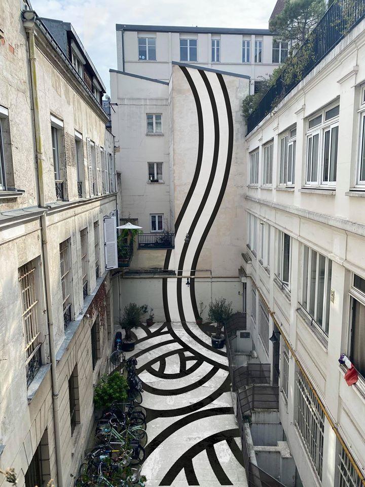 vue de confinement : photo de cours d'immeuble retravaillée par le street artist Jordane Saget