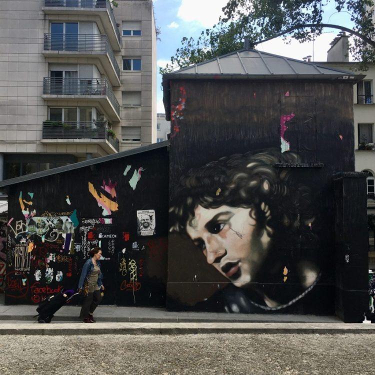 Street Art Canal de L'Ourcq. Andréa Ravo-Mattoni s'inspire du peintre Française Valentin de Boulogne