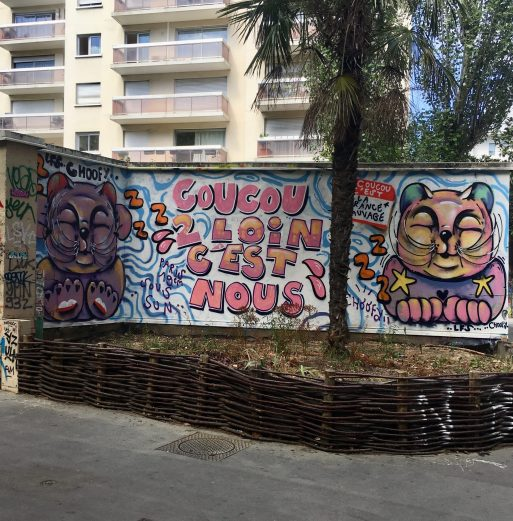 Street Art : Chats réalisés par l'artiste Choofy canal de l'Ourcq à Paris