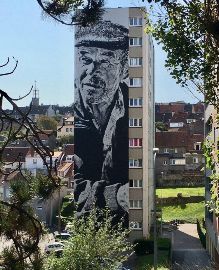 Street Art Boulogne-sur-mer : Portrait par Hendrik Beikirch alias ECB - Photo @Altinnov