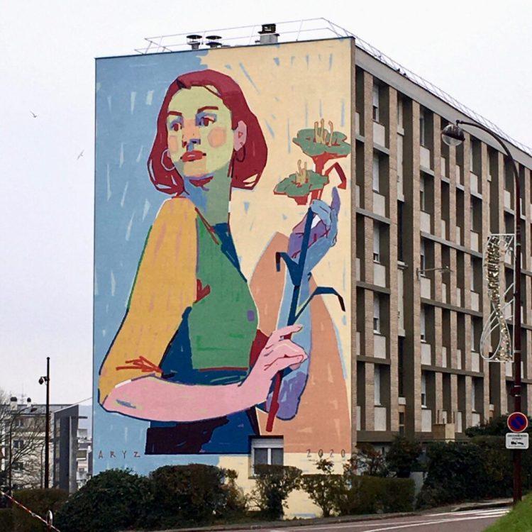 Fresque murale réalisée par le Street Artiste Espagnol Aryz pour Quai 36 à Versailles