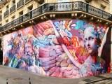 Fresque murale monumentale réalisée par PichiAvo dans le Quartier Latin à Paris