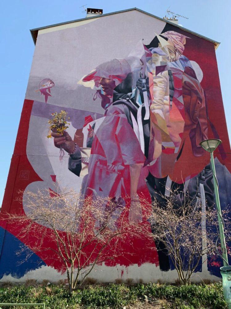 Fresque Street Art réalisée par Telmo Miel à Aubervilliers