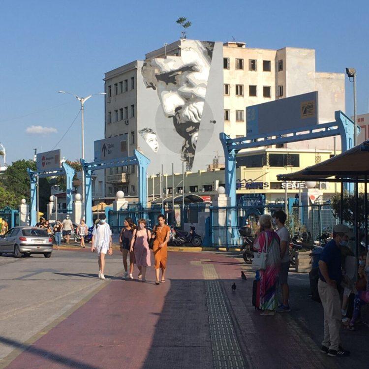 Street Art port du Pirée - Oeuvre We have The Power par l'artiste INO