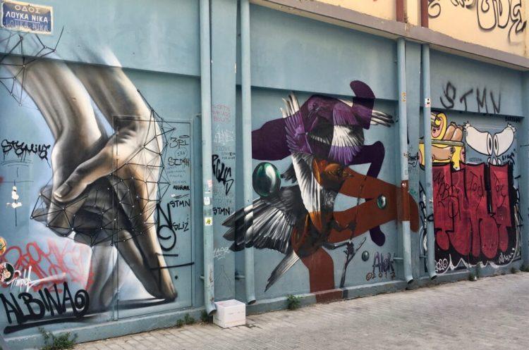Street Art à Athènes - Oeuvres de SimpleG & Atek dans le quartier de Psyri
