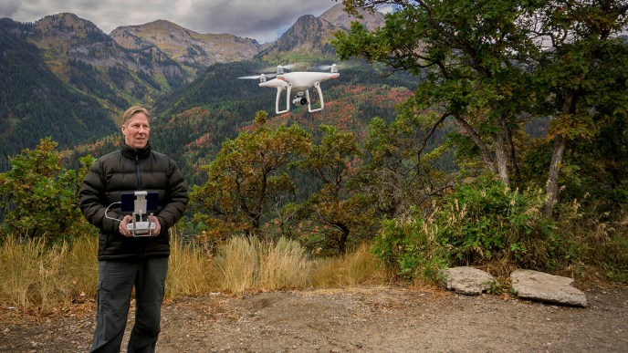 James Dalrymple flies a DJI Phantom 4 drone.