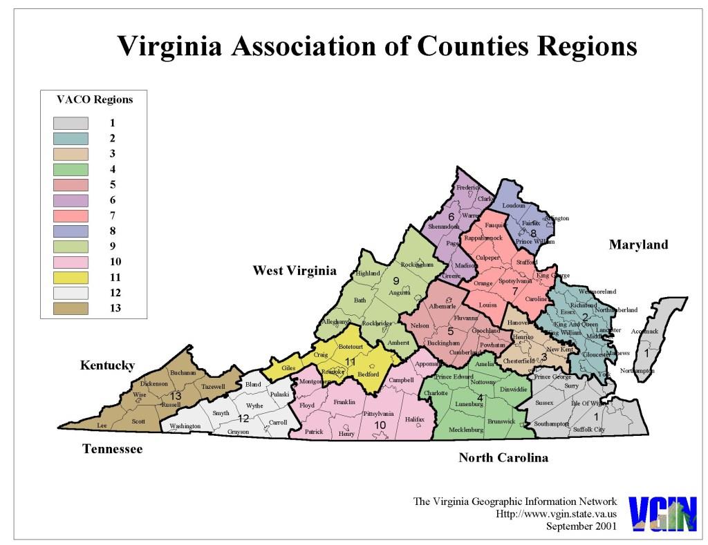 Virginia Counties Map - Regions - Altizer Law