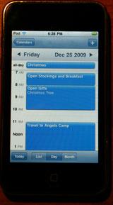Calendar on iPod Touch