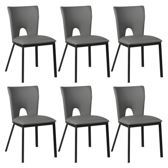 catalia lot de 6 chaises grises metal et simili