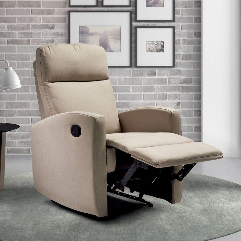 talara fauteuil relax manuel toile beige