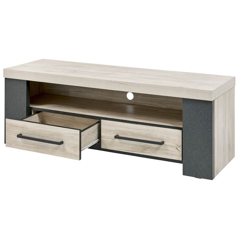 heracles meuble tv 1 niche 2 tiroirs imitation bois