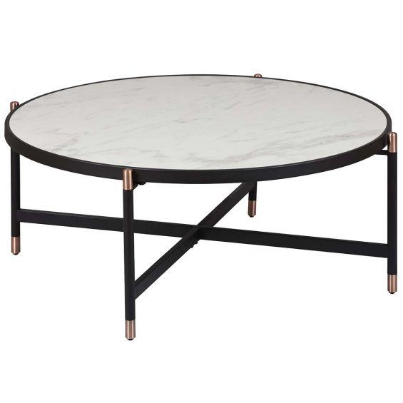 kobrea table basse ronde metal ceramique
