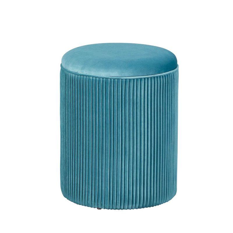 skuld pouf avec coffre de rangement bleu canard