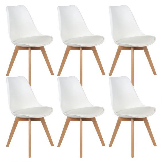 medaline lot de 6 chaises scandinaves blanches
