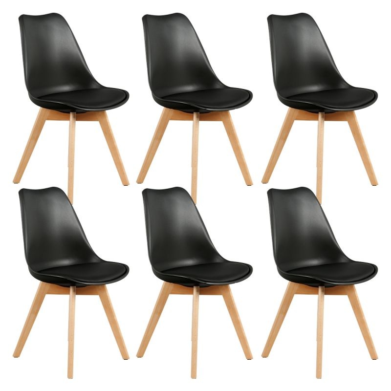 medaline lot de 6 chaises scandinaves noires