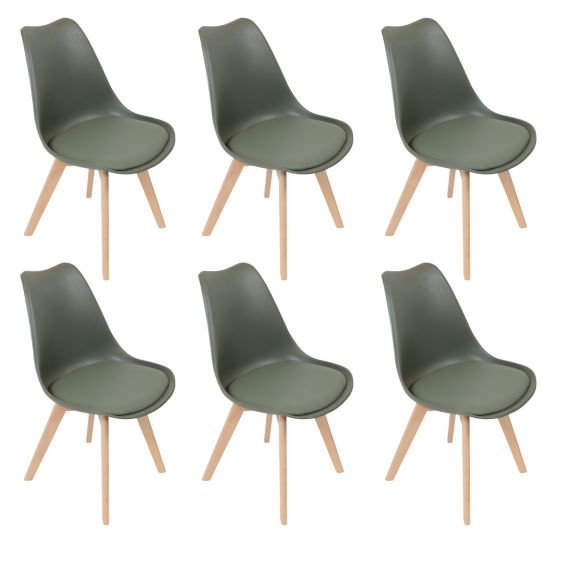 medaline lot de 6 chaises scandinaves kaki