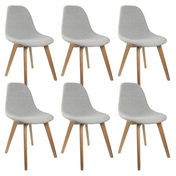medyna lot de 6 chaises scandinaves grises