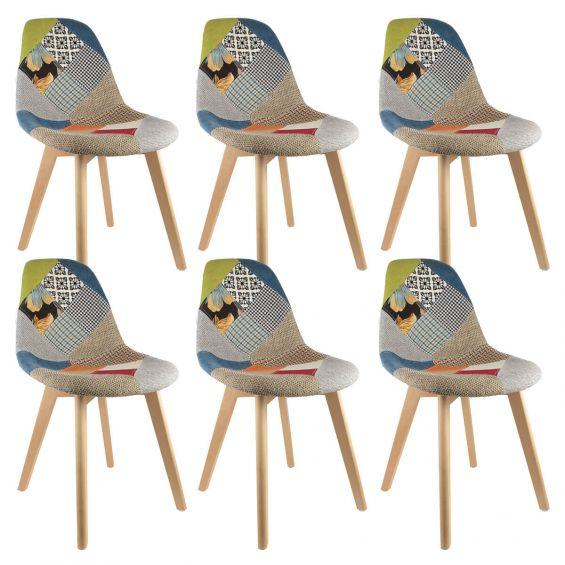 patchwork lot de 6 chaises scandinaves multicolore