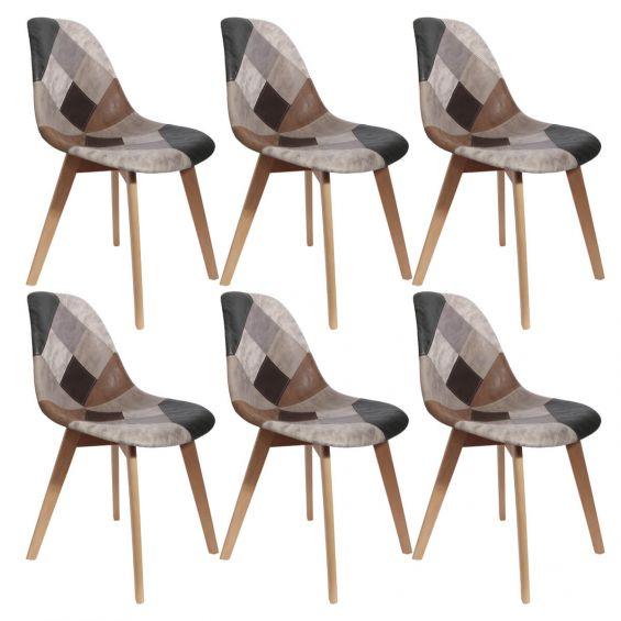 melo lot de 6 chaises scandinaves aspect vieux cuir
