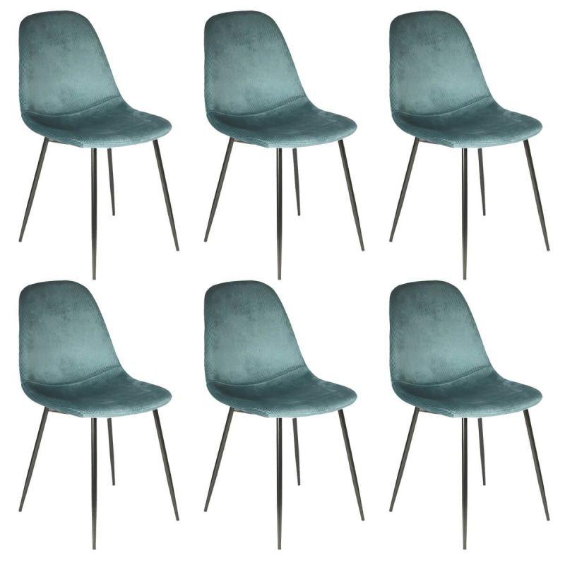 alessia lot de 6 chaises velours cotele bleu canard