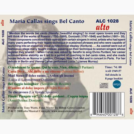 MARIA CALLAS SINGS BEL CANTO