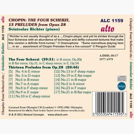 Sviatoslav Richter: Chopin - Four Scherzi / Preludes from Op.28