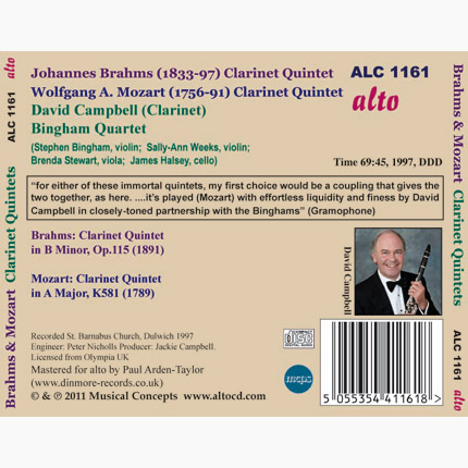 Brahms & Mozart Clarinet Quintets