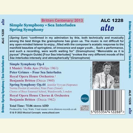 Britten: Simple Symphony ; Spring Symphony; Four Sea Interludes