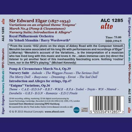 Edward Elgar: Variations on an original theme 'Enigma' Nursery Suite; Introduction & Allegro; March No.4