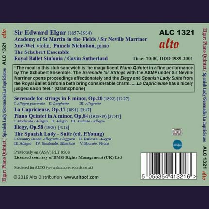 Edward Elgar: Piano Quintet; Spanish Lady Suite La Capricieuse; Elegy; Serenade Op.20