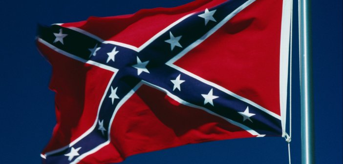 Confederate flag waving