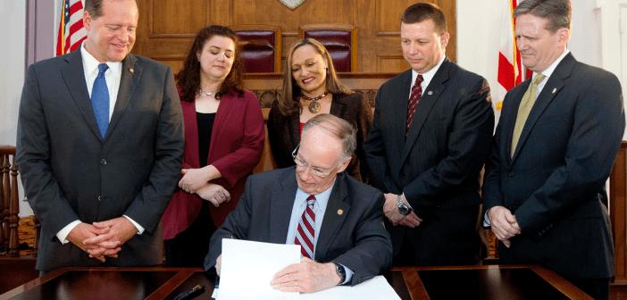 Gov Bentley Signing Law with Cam Ward