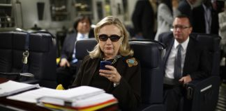 Hillary Clinton on phone