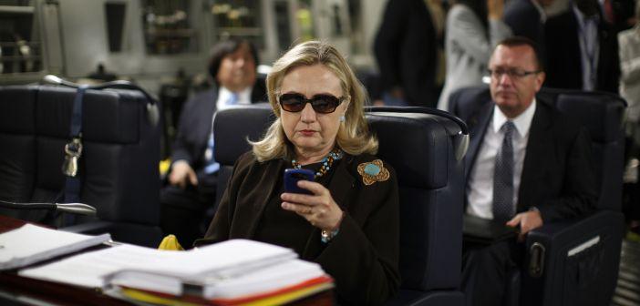 Hillary Clinton on phone